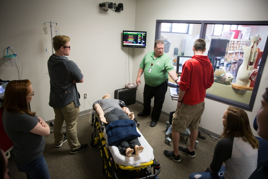 Public touring paramedic lab at Moraine Park Open House