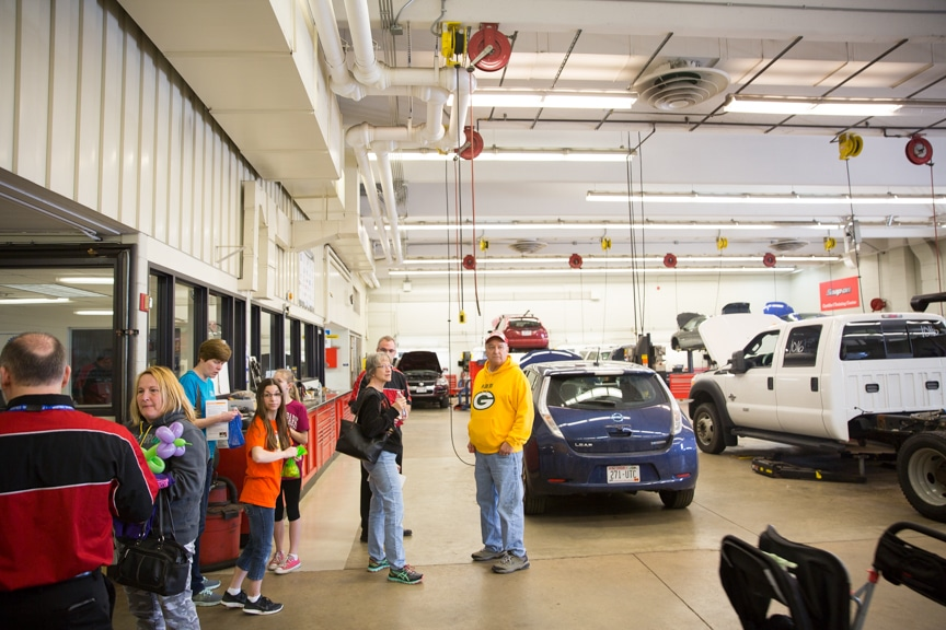 Public tour automotive lab at Moraine Park Open House