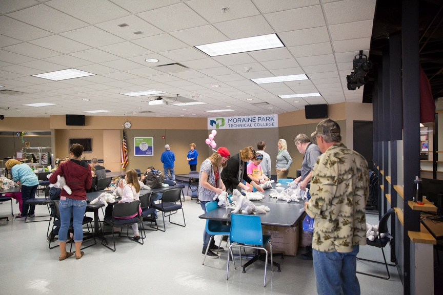 Moraine Park Open House activities in cafeteria