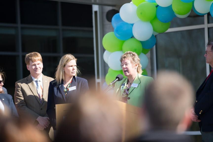 President Bonnie Baerwald give speech at Moraine Park Open House