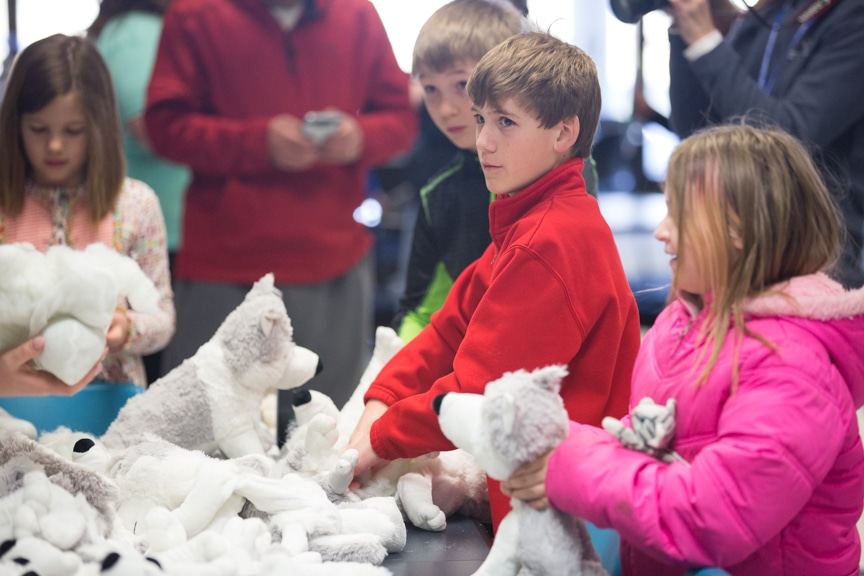 Children stuffing wolves at Moraine Park Open House