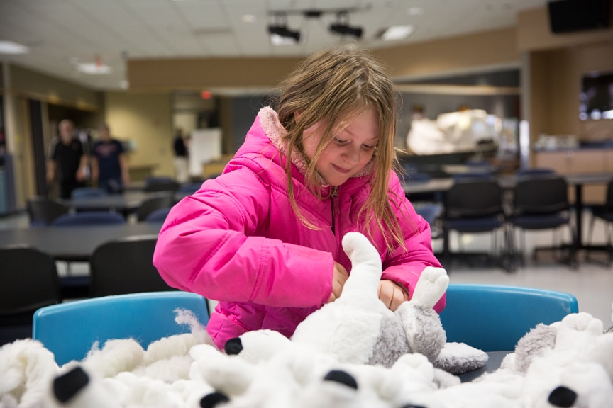 Girl stuffing a wolf at Moraine Park Open House