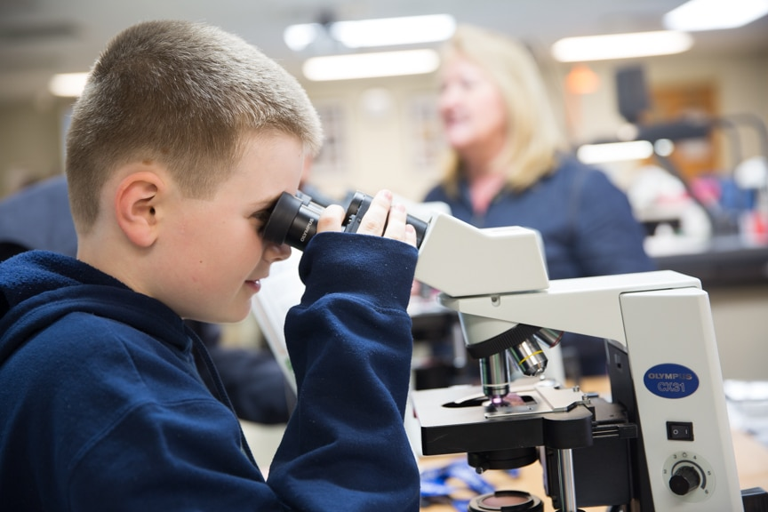 Boy looking through microscope at Moraine Park Open House