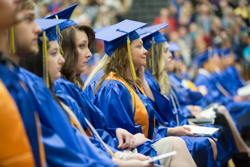 Students listen to speeches at Moraine Park commencement ceremony