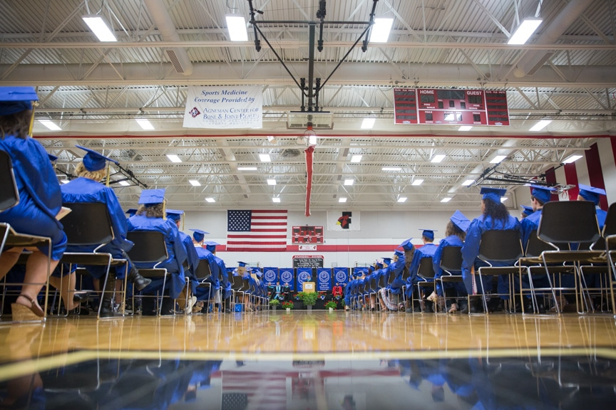 View of aisle at Moraine Park commencement ceremony