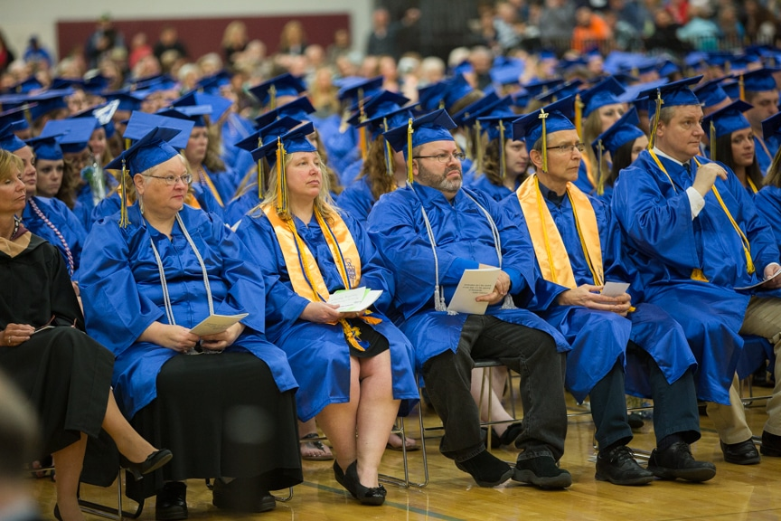 Gradutes seated at Moraine Park commencement ceremony