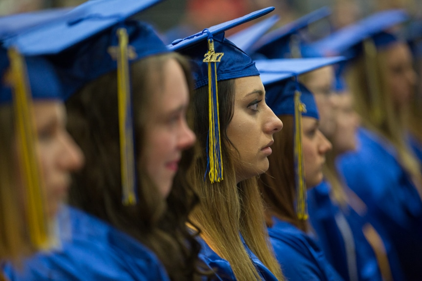 Graduates listen to speeches at Moraine Park commencement ceremony