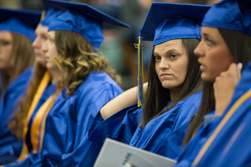 Students sit in crowd at Moraine Park commencement ceremony