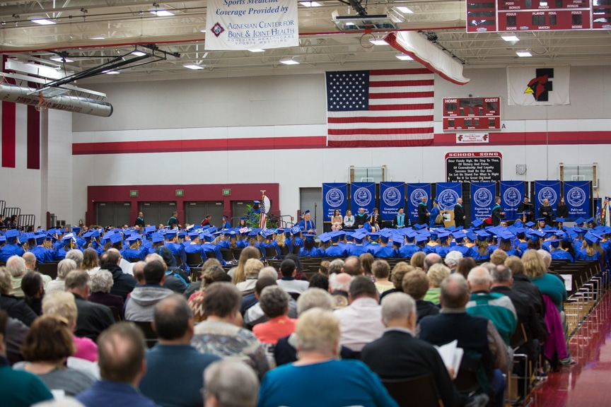 Large crowd sits during Moraine Park commencement ceremony