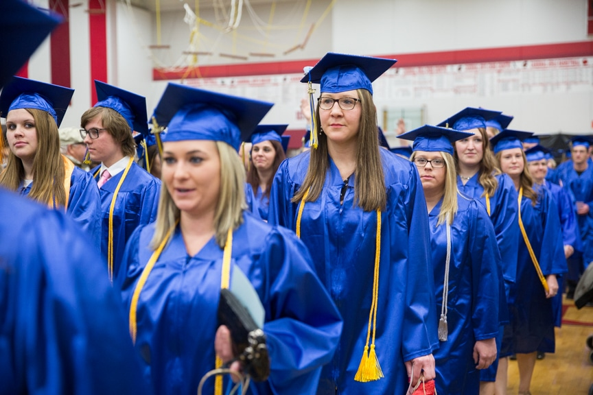 Female graduates march together at Moraine Park commencement ceremony