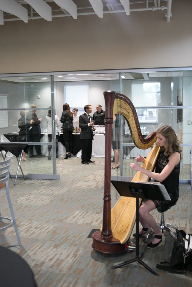 Harpist playing at Gourmet Dinner