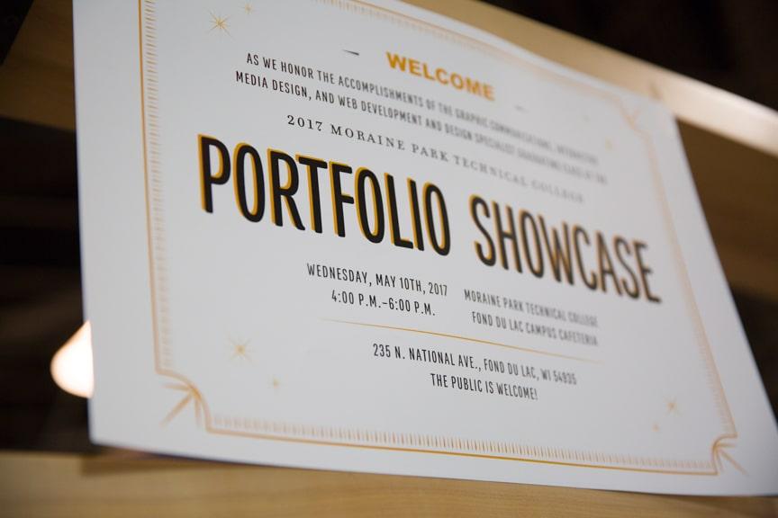 Moraine Park Portfolio Showcase signage