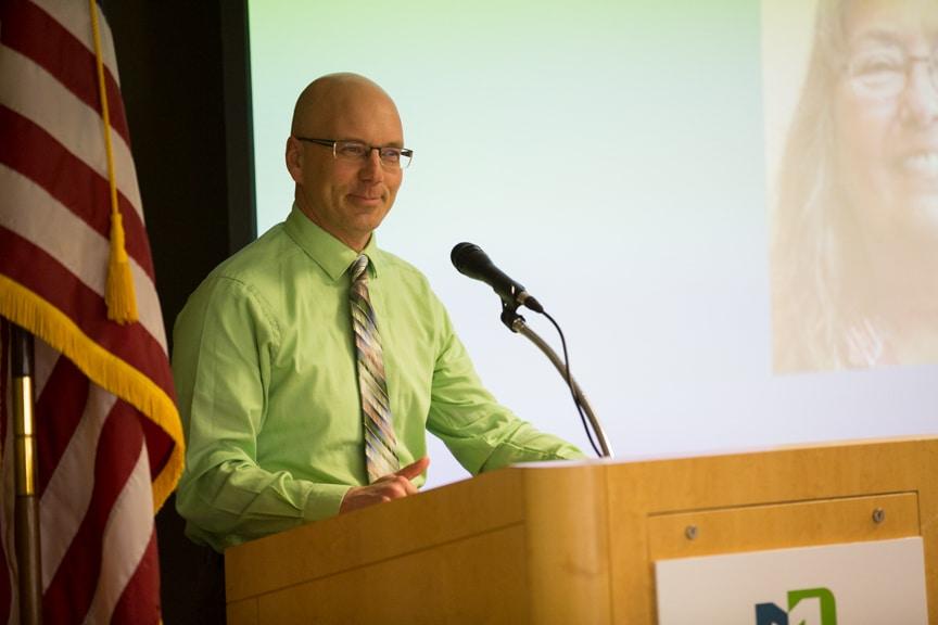 Scott Lieburn, Moraine Park Dean of Students speaking at Retirement-Service Recognition event
