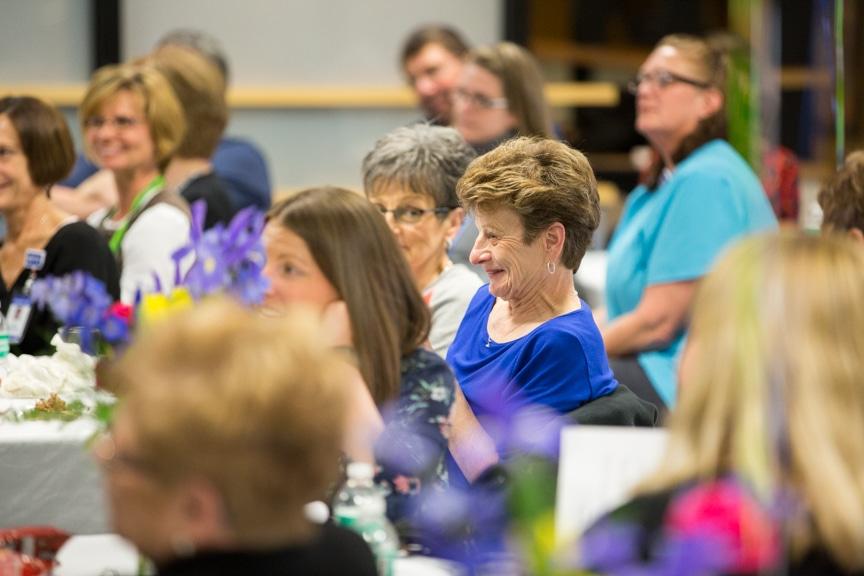 Tables of participants in Moraine Park Retirement Service Recognition event