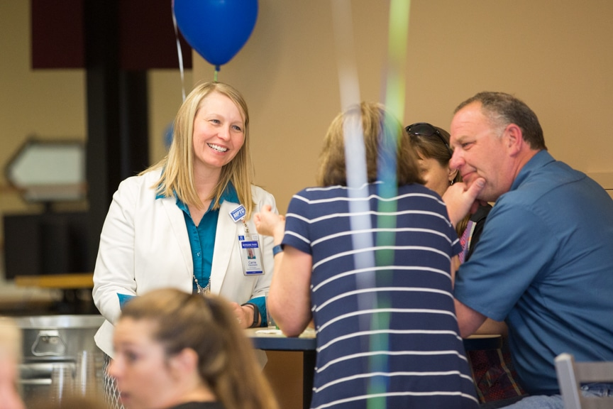 Employees at tables at Moraine Park Retirement-Service recognition event
