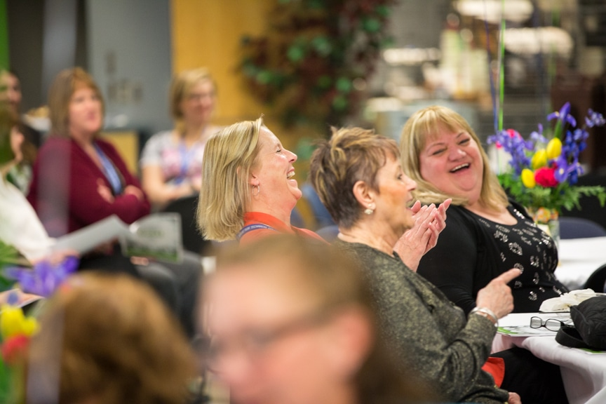 Employees laughing at Moraine Park Retirement-Service recognition event