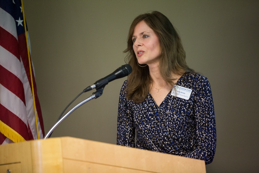 Moraine Park Vice President of Human Resources Kathy Broske speaking at retirement event