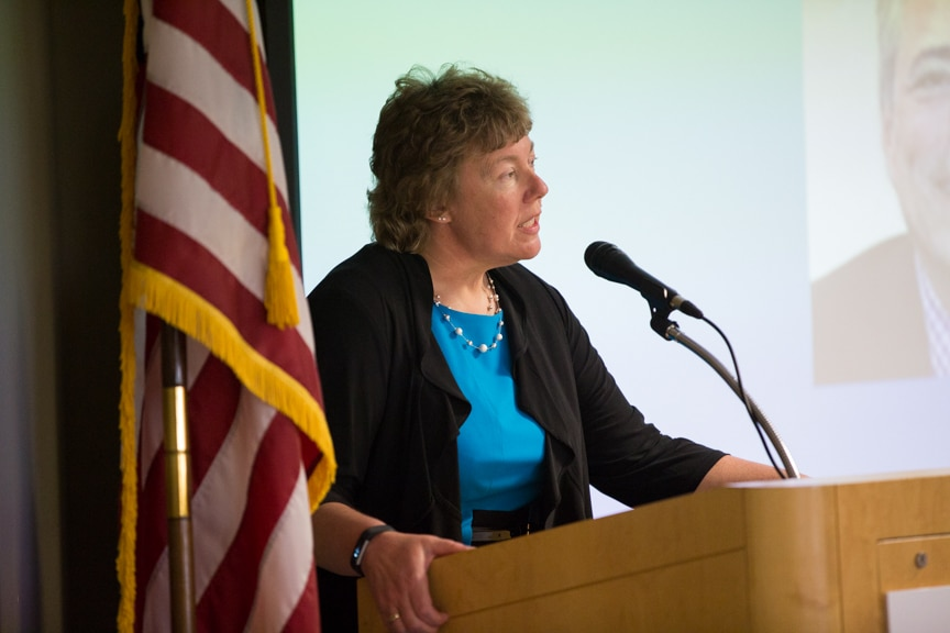Moraine Park president Bonnie Baerwald speaking at retirement event