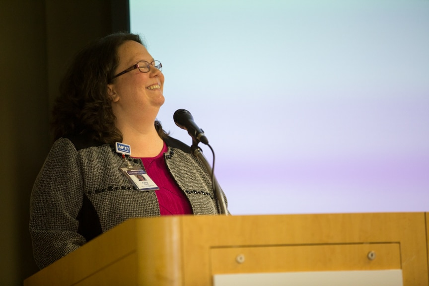 Moraine Park Admissions Manager, Amy Clark speaking at Retirement-Service Recognition event