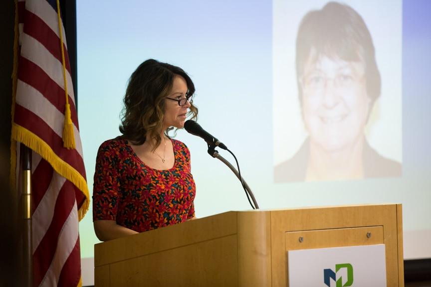 Moraine Park Asso. Dean of Nursing, Marylou Mercado speaking at Retirement-Service Recognition event
