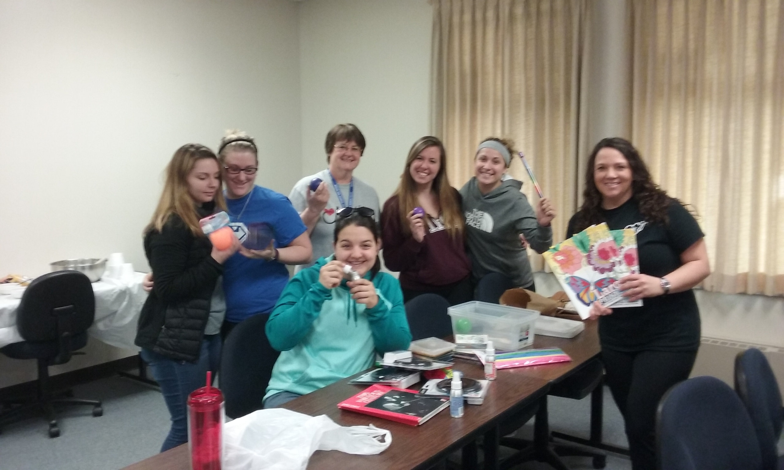 SNA members put together sensory boxes for nursing home residents.