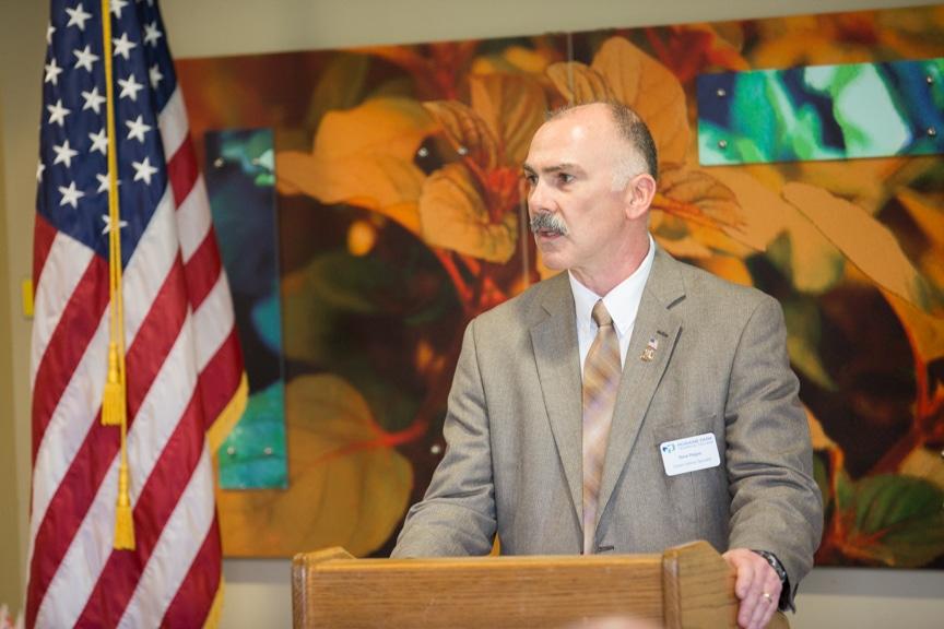 Moraine Park Veterans Specialist Steve Pepper speaking at Hail & Farewell ceremony