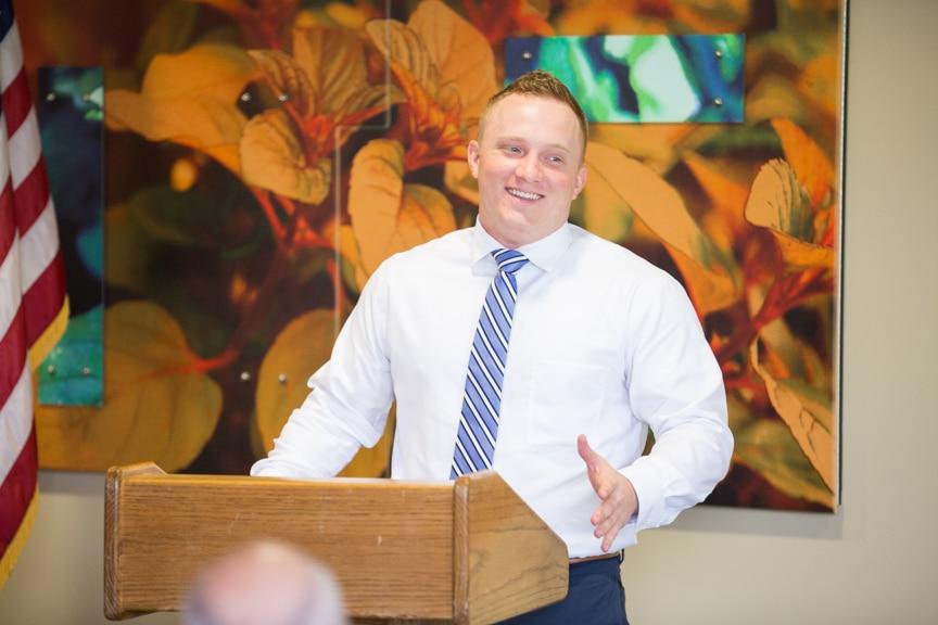 Male speaker at Hail & Farwell Veteran Ceremony