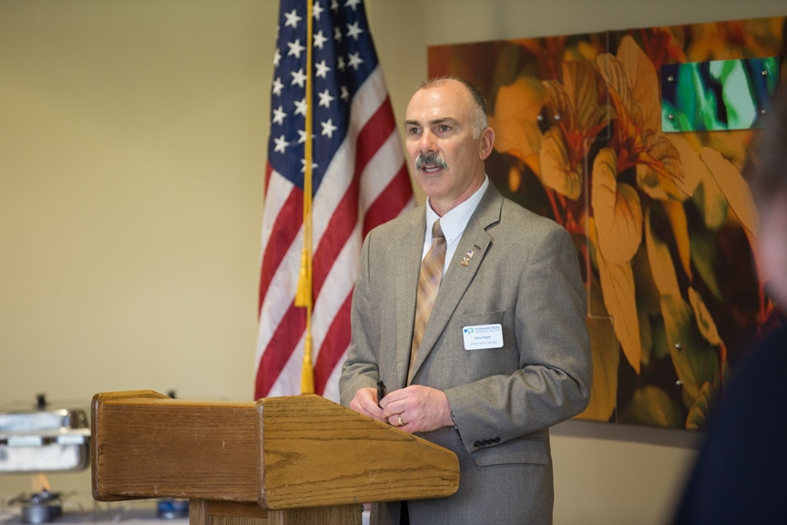 Moraine Park Veterans Specialist Steve Pepper speaking at Hail & Farewell ceremony