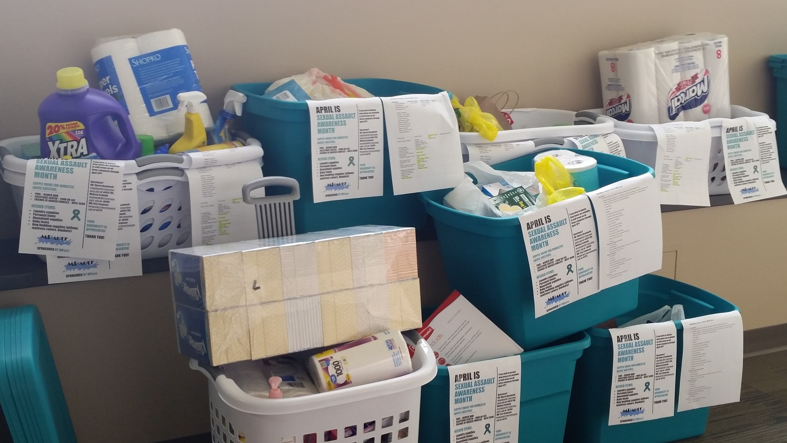 baskets of donated supplies