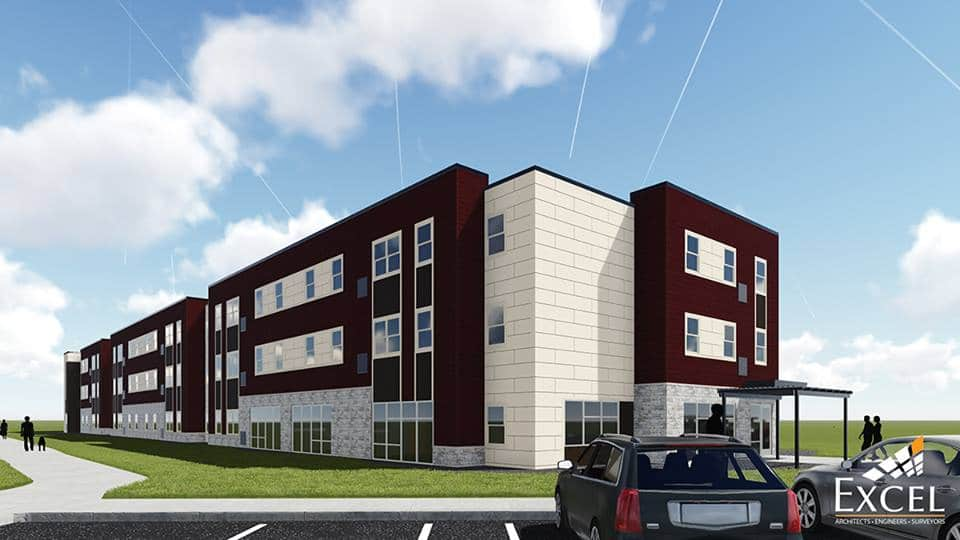 Rendering of the student VUE campus living building