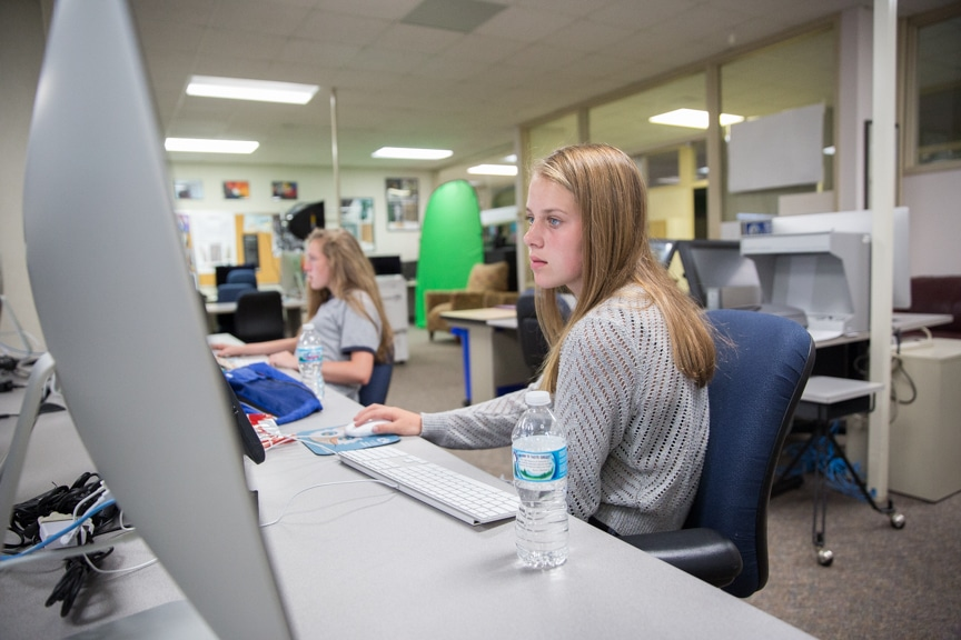 Girls work on iMac computers at Moraine Park Girls Make IT Happen camp