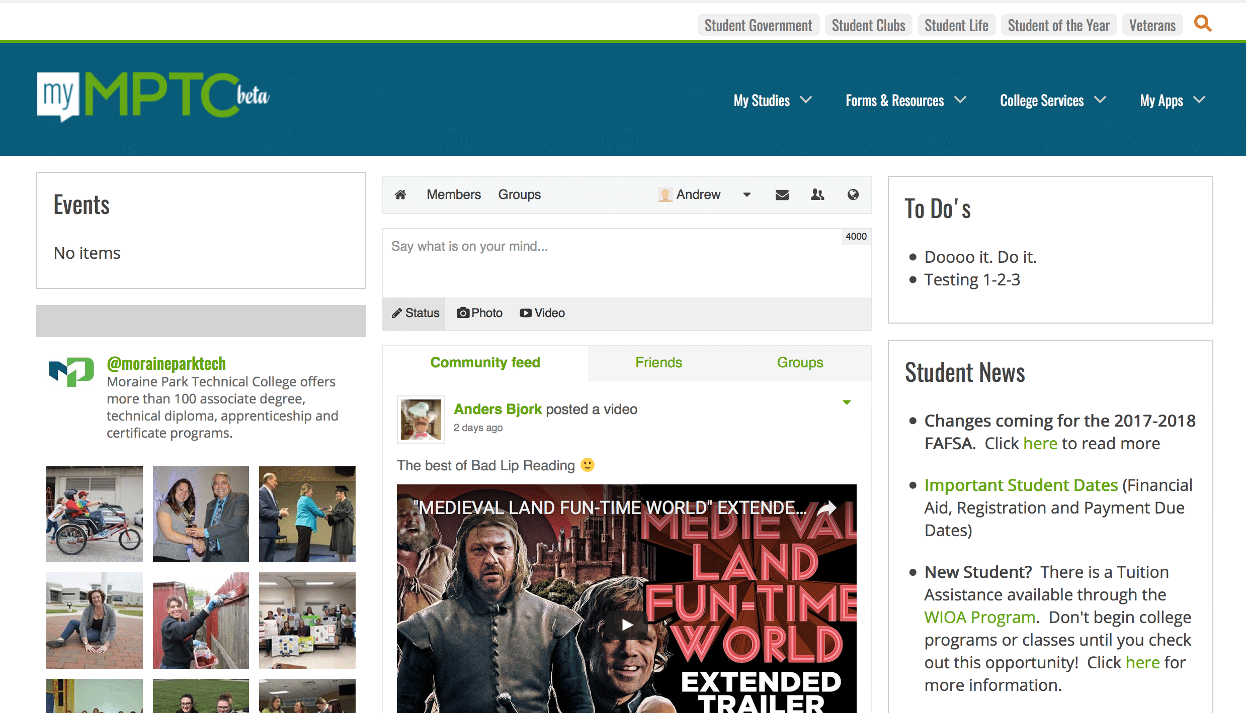 Screenshot showing features of myMPTC student portal