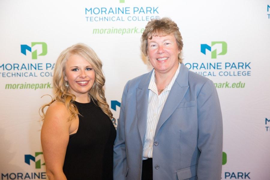 Moraine Park president Bonnie Baerwald and female Moraine Park student at student awards banquet
