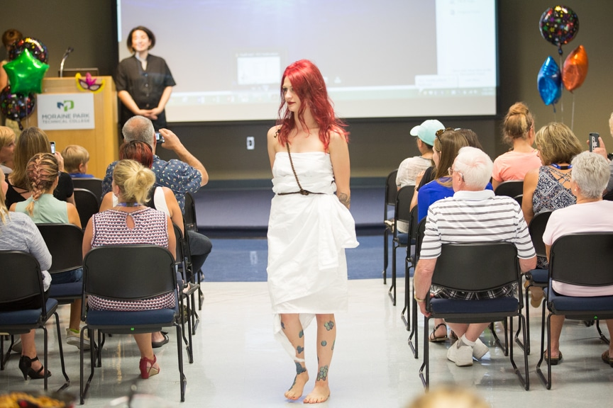 Model dresses as Arial from Little Mermaid walks down Moraine Park fashions how runway