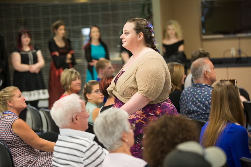 Model walks down runway at Moraine Park summer fashion show