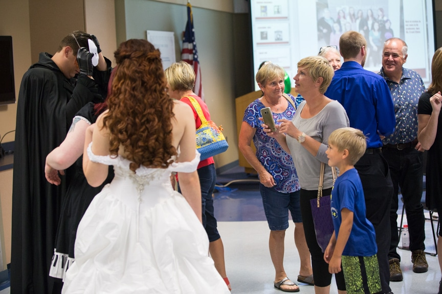 Family members gather after Moraine Park fashion show
