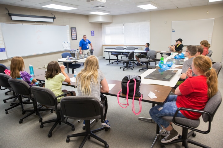 Students sit in criminal justice classroom at Moraine Park Tech Knowledge College