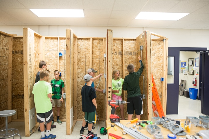 Youth work on electrical activity during Moraine Park summer camp