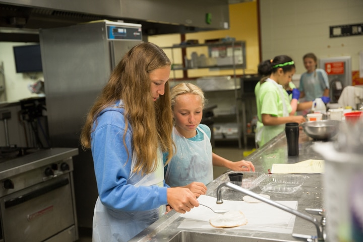 Girls work in kitchen at Moraine Park Technical College