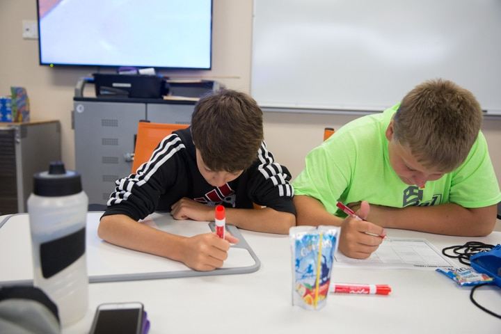 Two boys work on business plans at Moraine Park TKC event