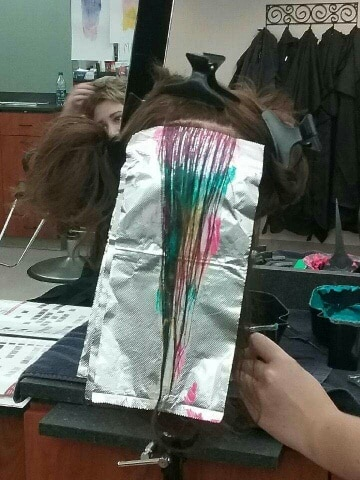 MPTC Cosmetology Matrix Color Melting training - strands of hair with color melting technique applied