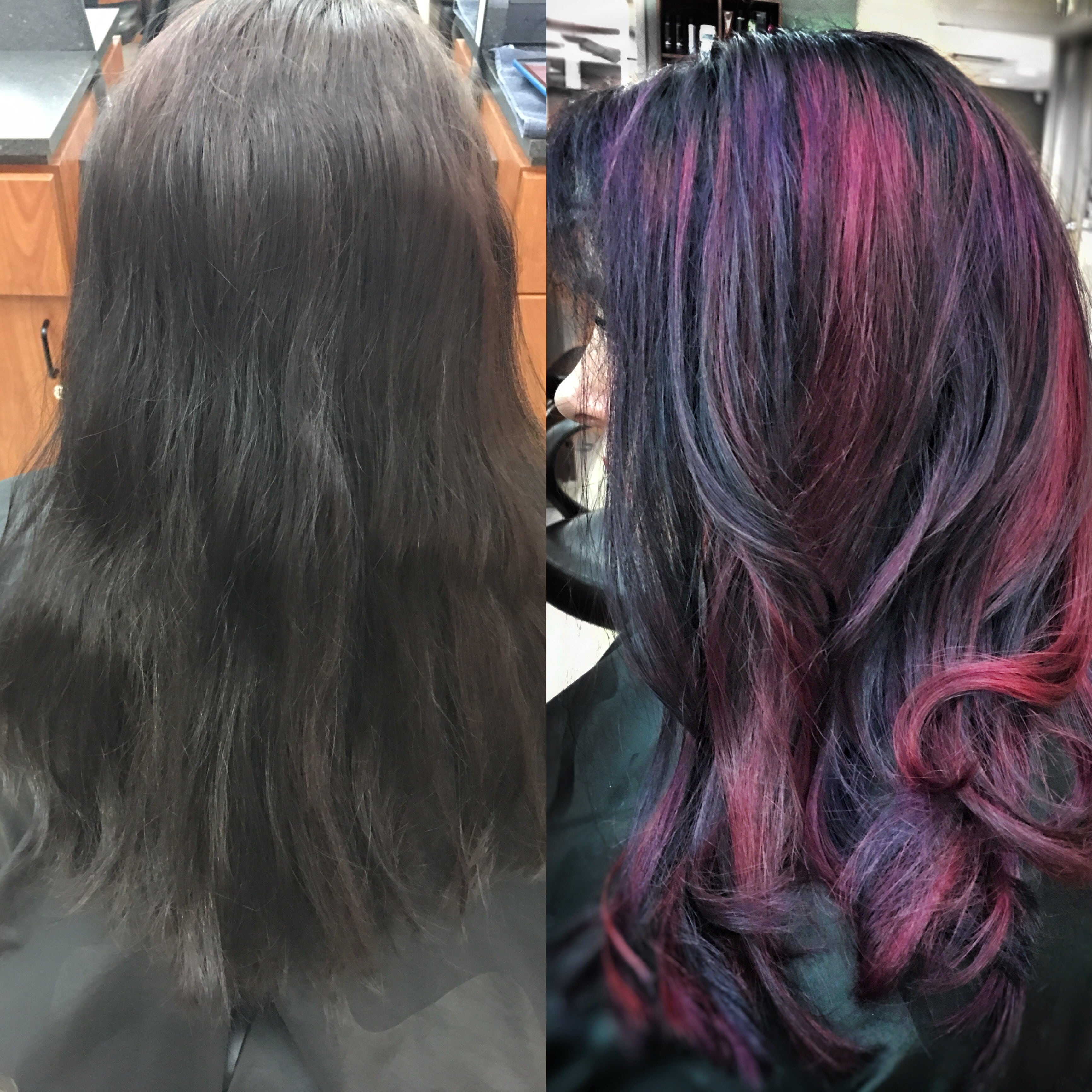 Techniques Salon and spa client with creative color before and after pic