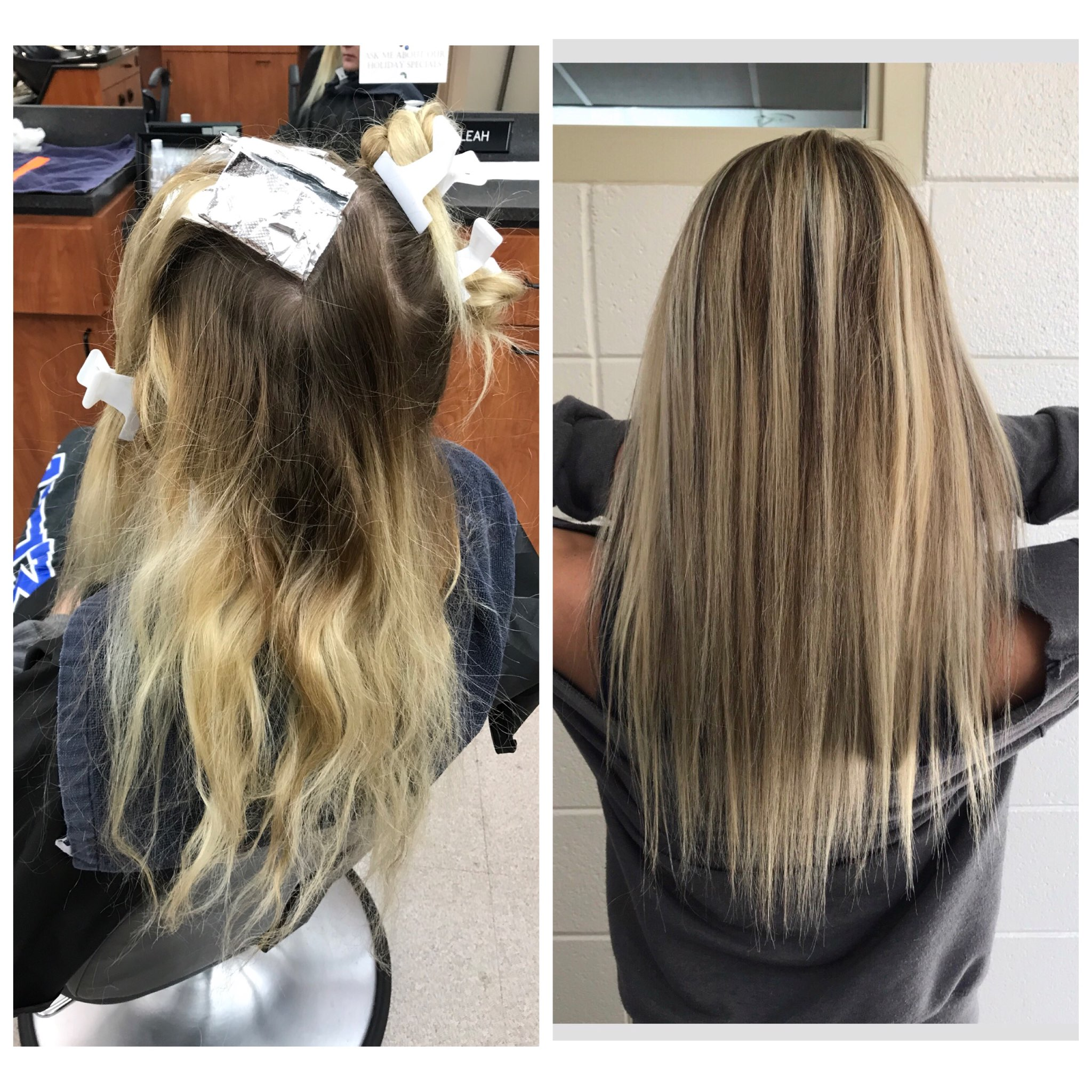 Cosmetology student before and after photo of client at Techniques Salon and Spa