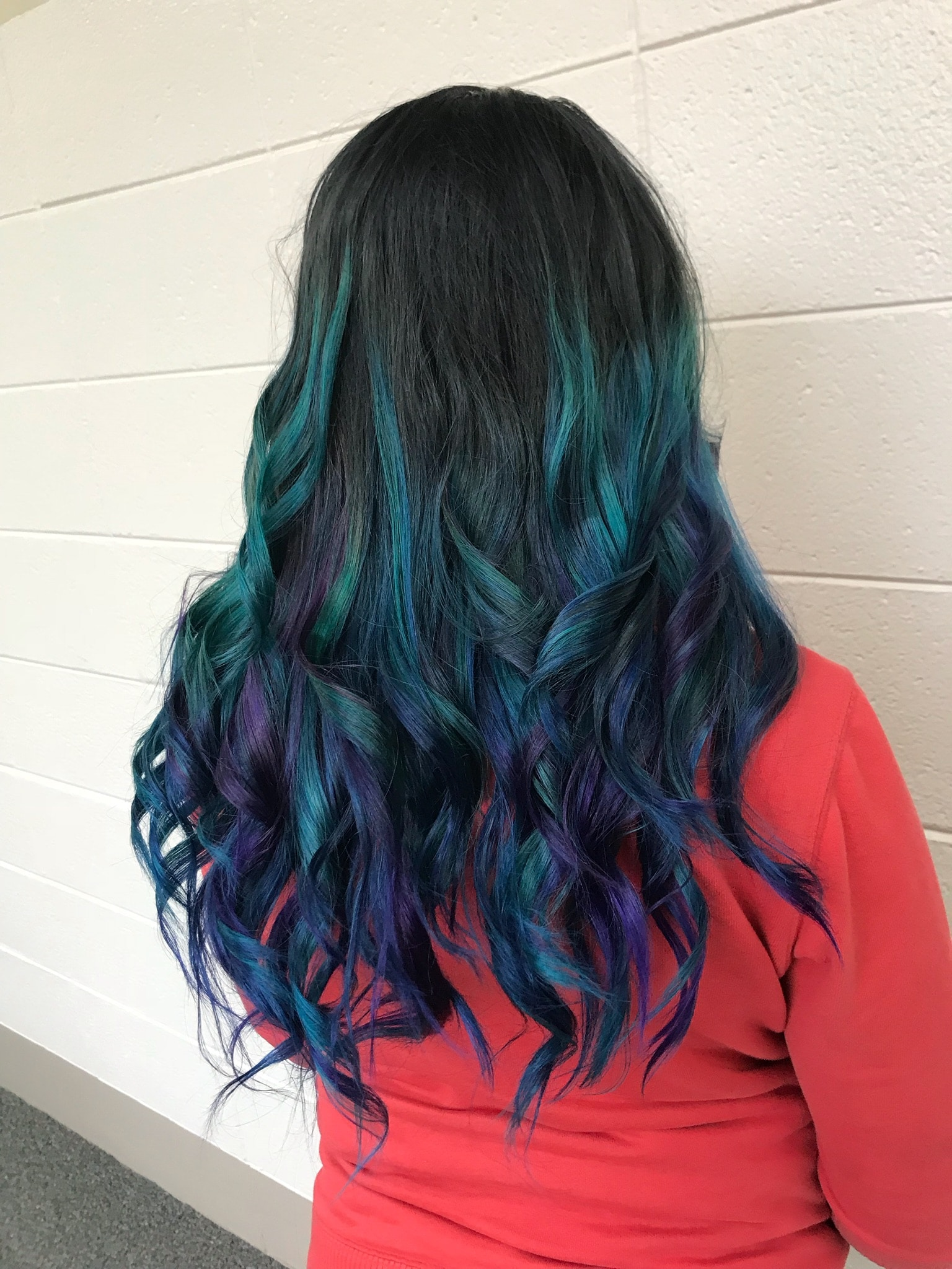 Client of Cosmetology student Creative color hair application after photo