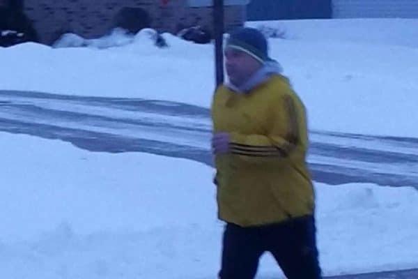 pete rettler jogging outside in winter