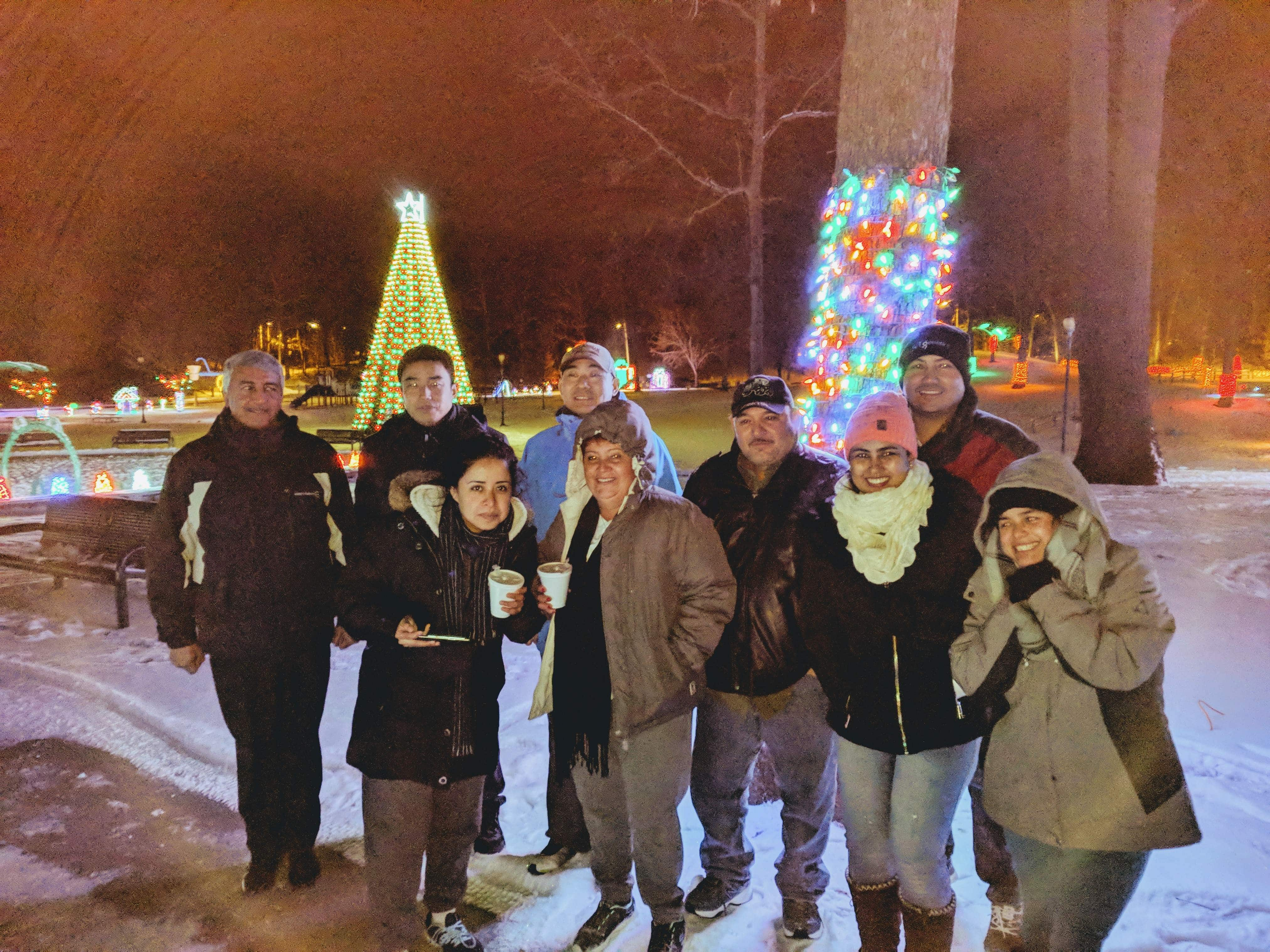 group stands near christmas lights on snowy night