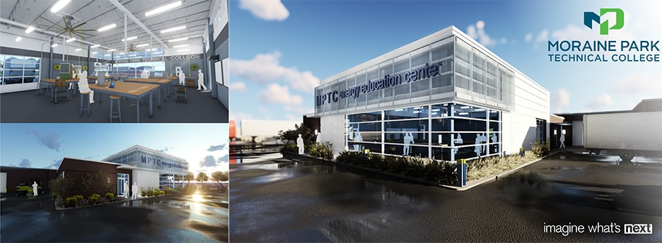 rendering of inside and outside of moraine park gas utility building