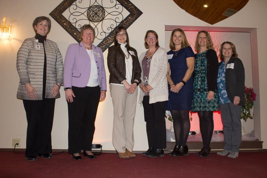 Award winners left to right Tammy Pitts/Agnesian SSM, President Bonnie Baerwald, JoAnn Giese Kent, Barbara Brown, Melissa Schmidt, Michelle Duran, and Bonnie Bauer