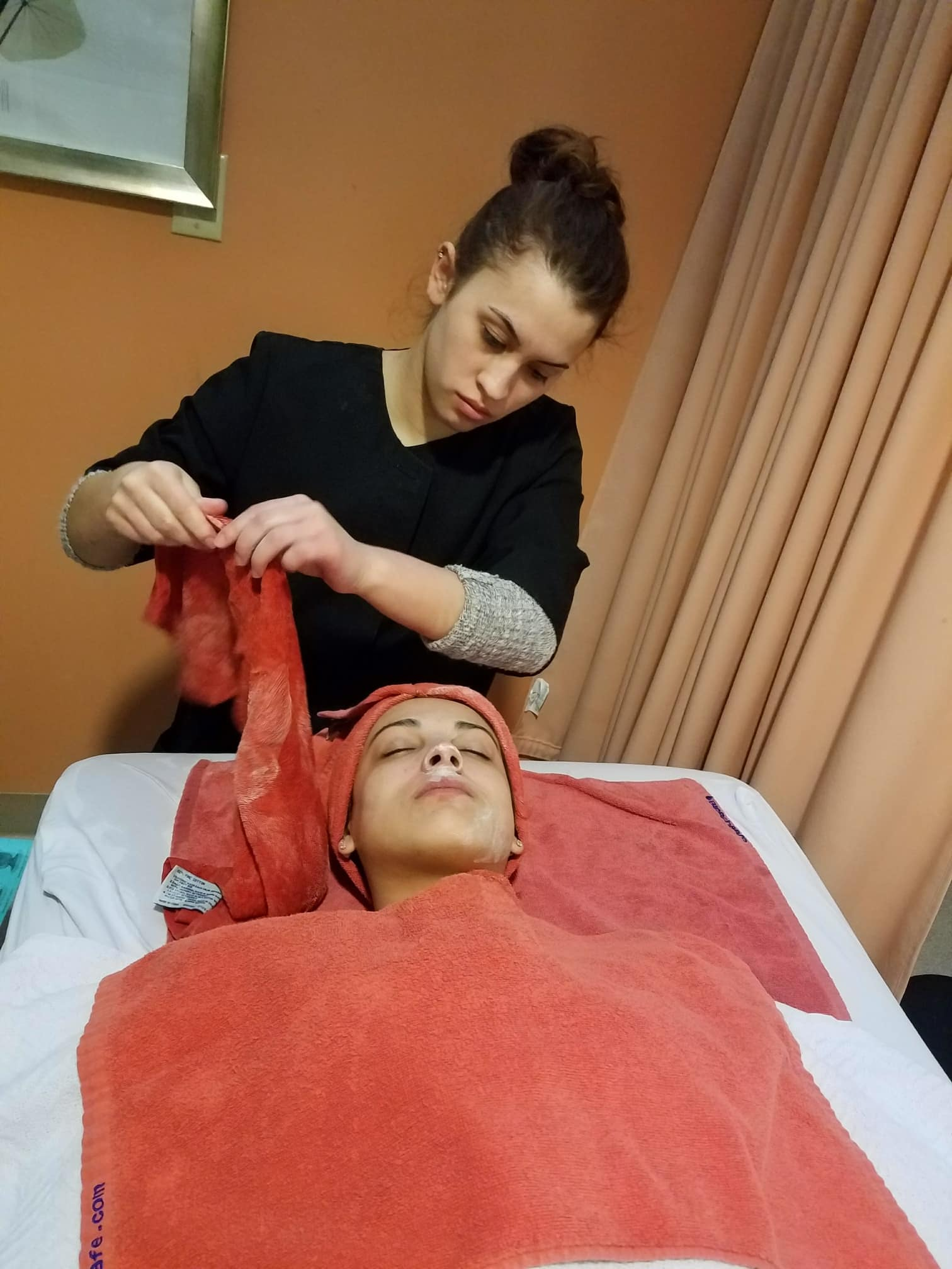 MPTC Cosmetology Student performing a facial