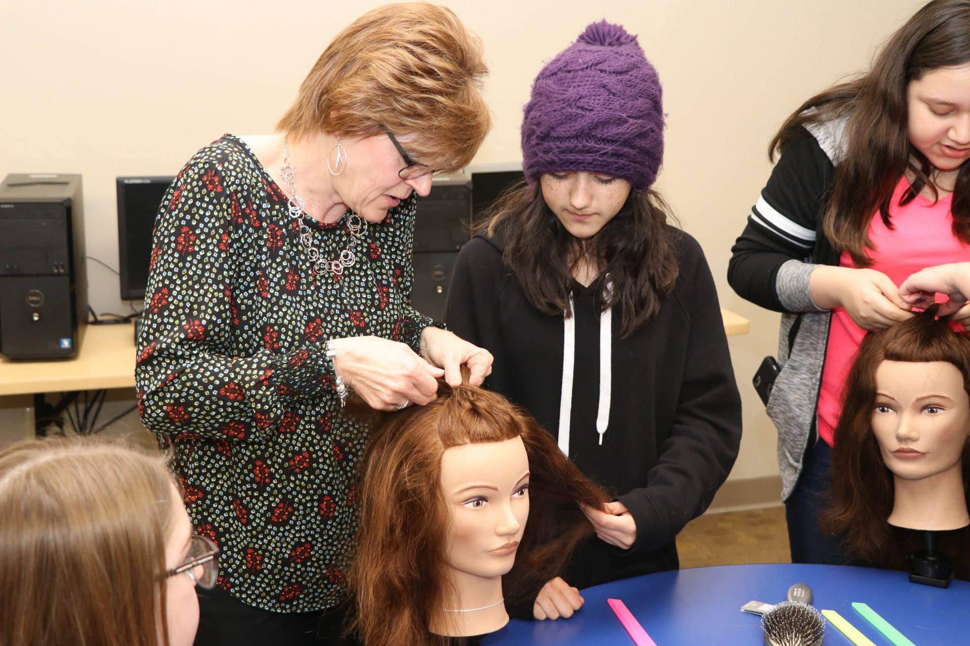 MPTC cosmetology students at Boys and Girls Club